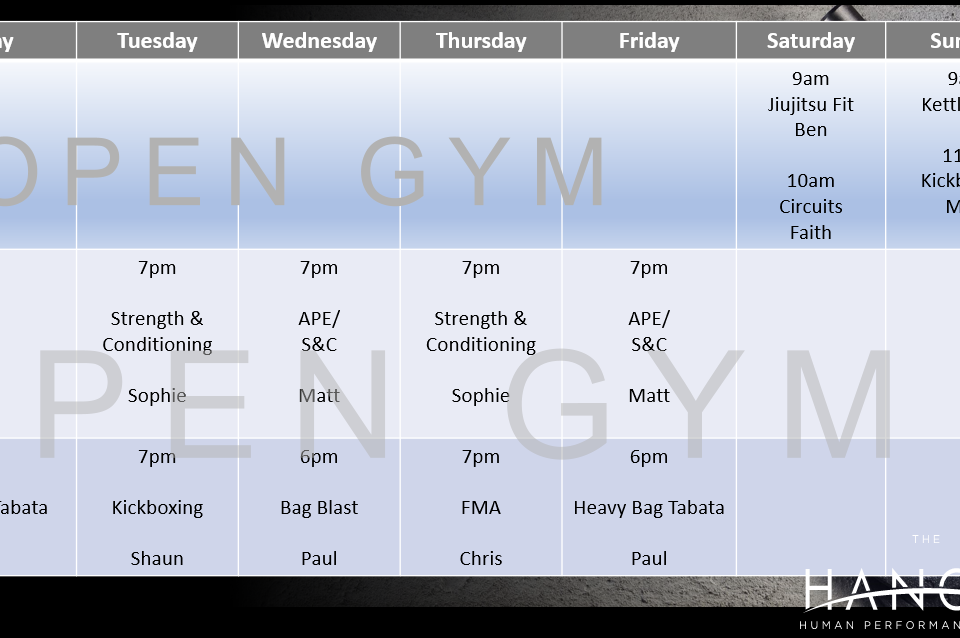 Hangar Interim Timetable